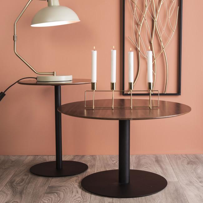 Dot - Table d'appoint ronde en métal et bois