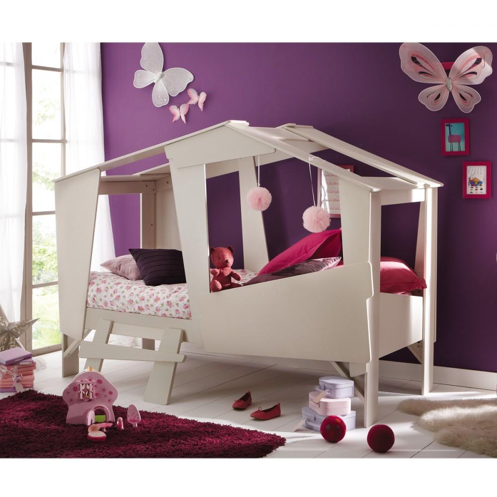 Cadre de lit cabane enfant en bois avec sommier drawer for Lit pour chambre fille