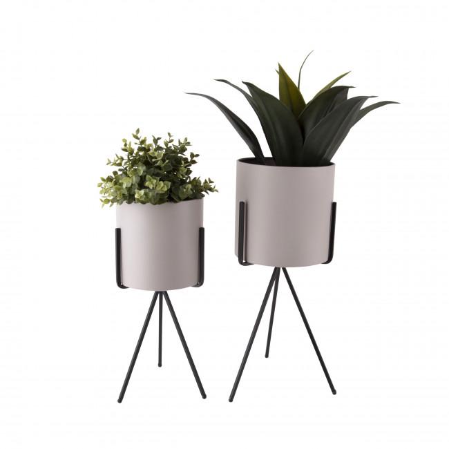Pedestal - 2 cache-pots rond en métal mat
