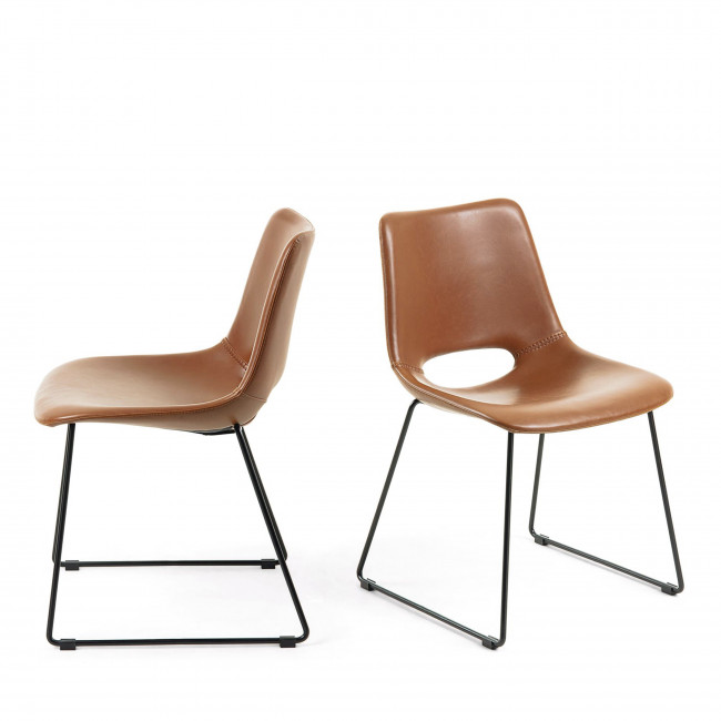 Zahara - 2 chaises en métal et simili