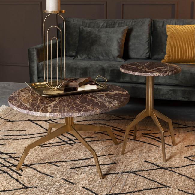 Maral - Table basse ronde en marbre et métal ø77cm