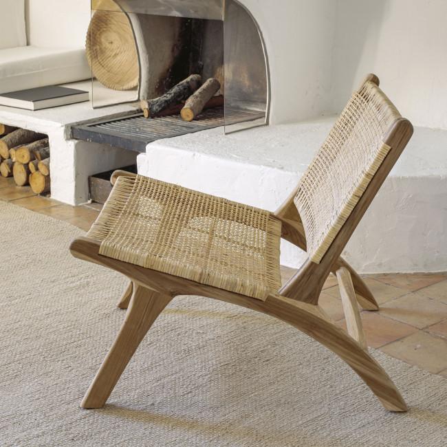 Beida - Fauteuil lounge en teck et rotin