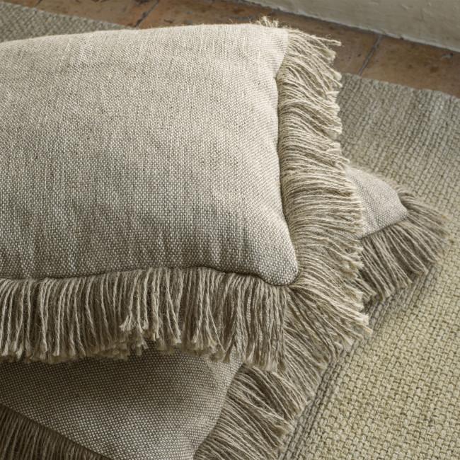 Delcie - Housse de coussin en coton avec franges 45x45cm