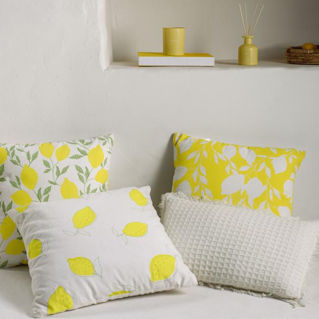 Etel - Housse de coussin motifs citrons 100% coton 45x45cm