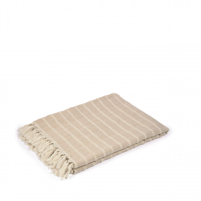 Sweeny - Plaid à rayures 100% coton 130x170cm