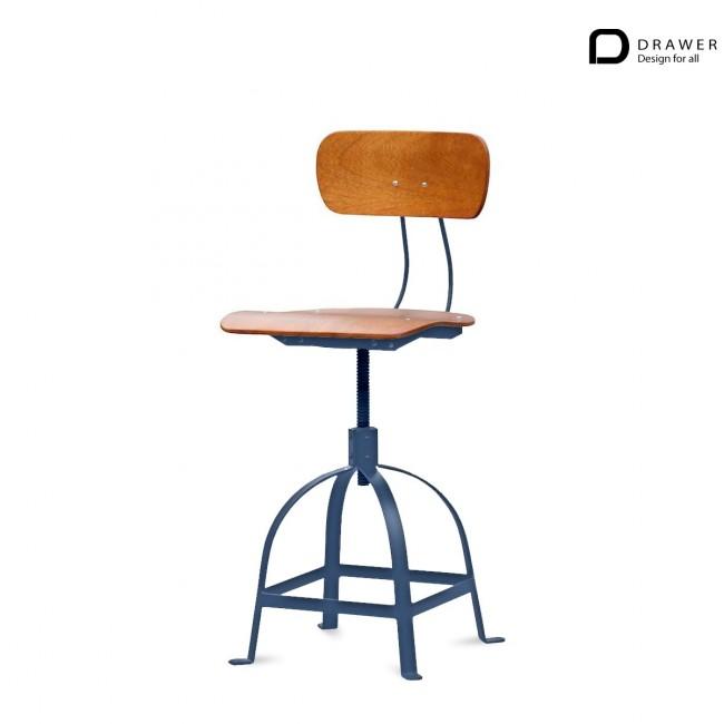 Chaise industrielle architecte JB Pennel bois et metal