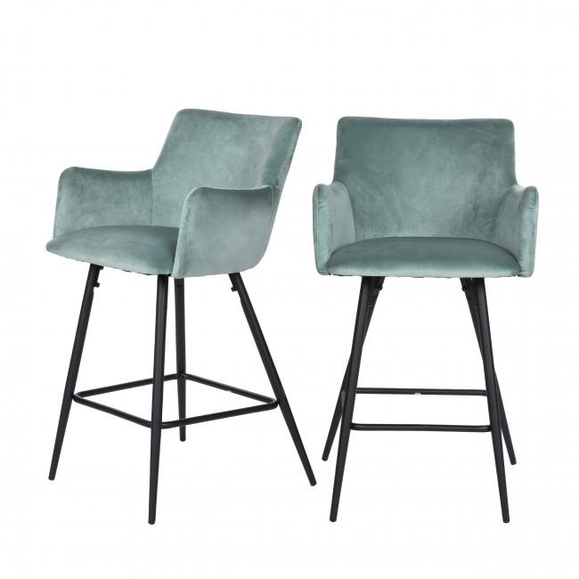 Trimont - 2 chaises de bar en métal et velours