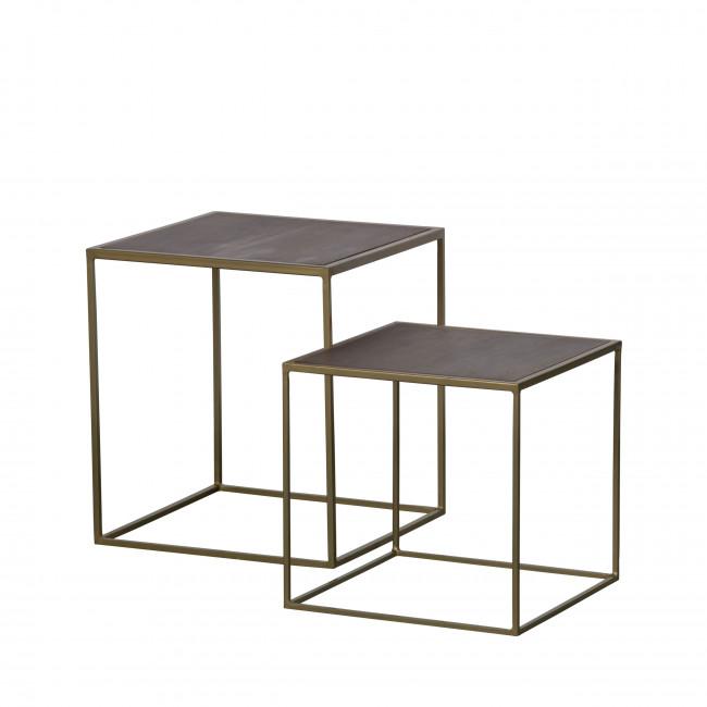 Nest - 2 tables basses gigognes carrées en métal et bois