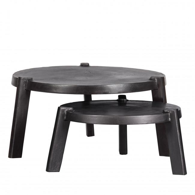 Burly - 2 tables basses gigognes rondes en métal