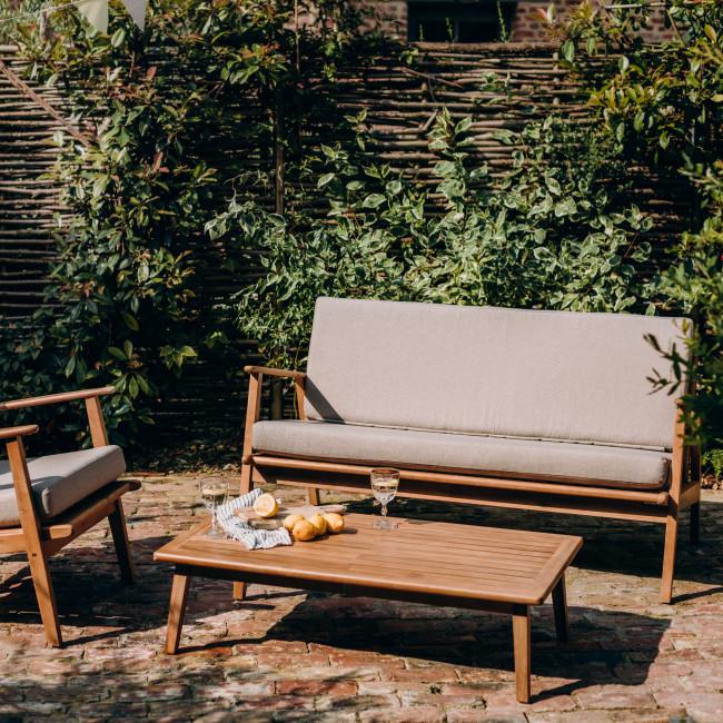 Caomy - Canapé de jardin 2 places en bois massif et tissu