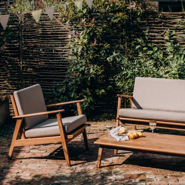 Caomy - Fauteuil de jardin en bois massif et tissu