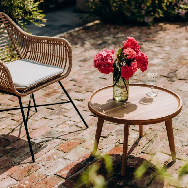 Bienhoa - Table basse indoor/outdoor en bois massif 40xø60cm