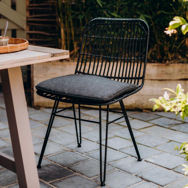 Tamky - 2 chaises de jardin en résine tressée et métal
