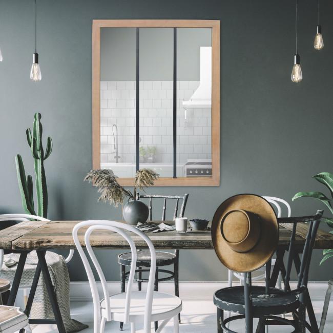 Nell - Miroir verrière en métal et bois 113x85 cm