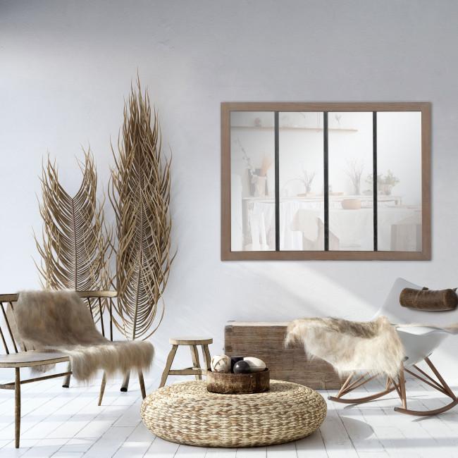 Frank  - Miroir verrière en métal et bois 120x80 cm