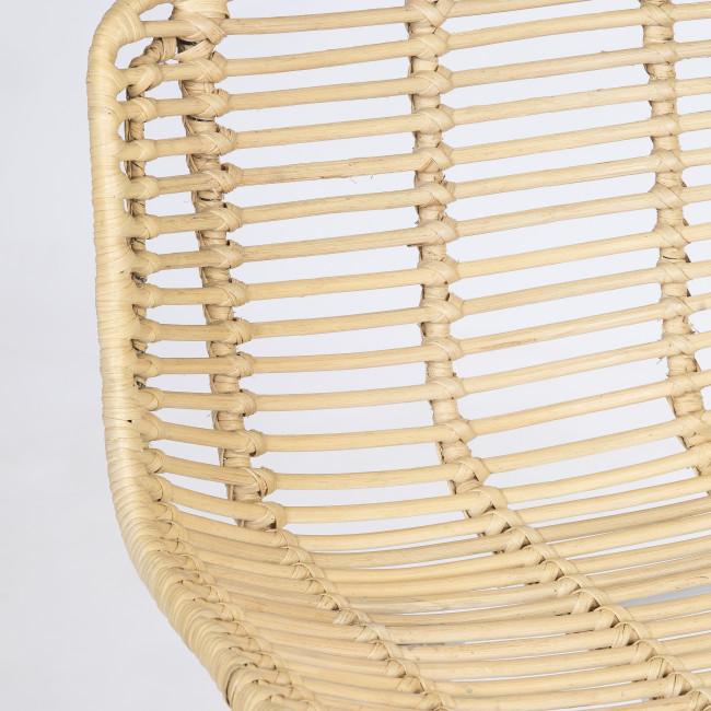 Capurgana - 2 chaises de bar design en rotin pieds blancs 67cm