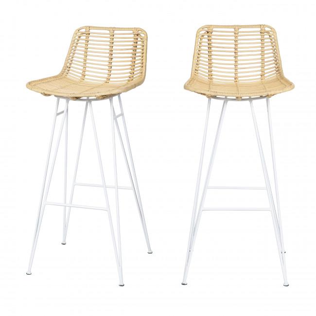 Capurgana - 2 chaises de bar design en rotin pieds blancs 75cm