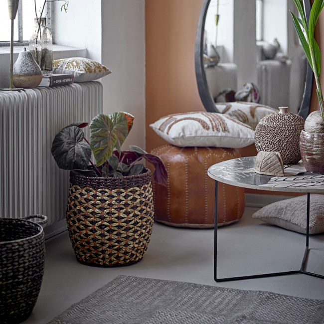 Lac - Table basse ronde en bois motif floral ø80cm