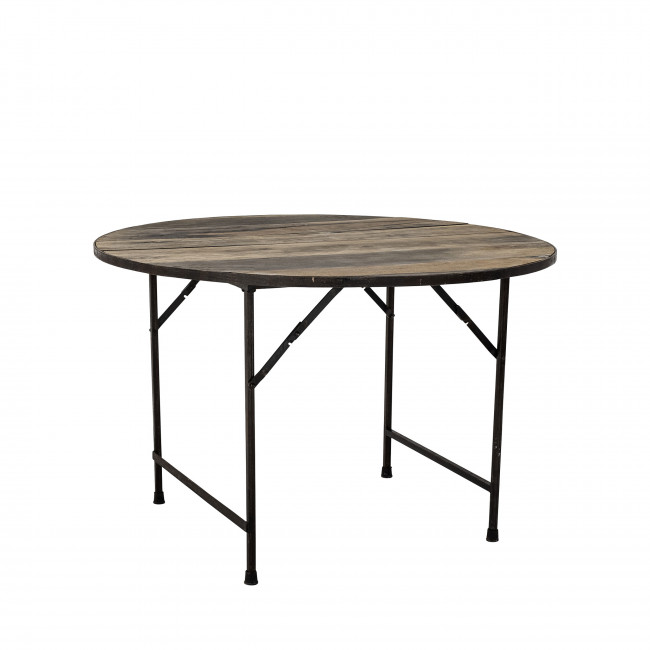 Louis - Table à manger en métal et bois recyclé ø120cm