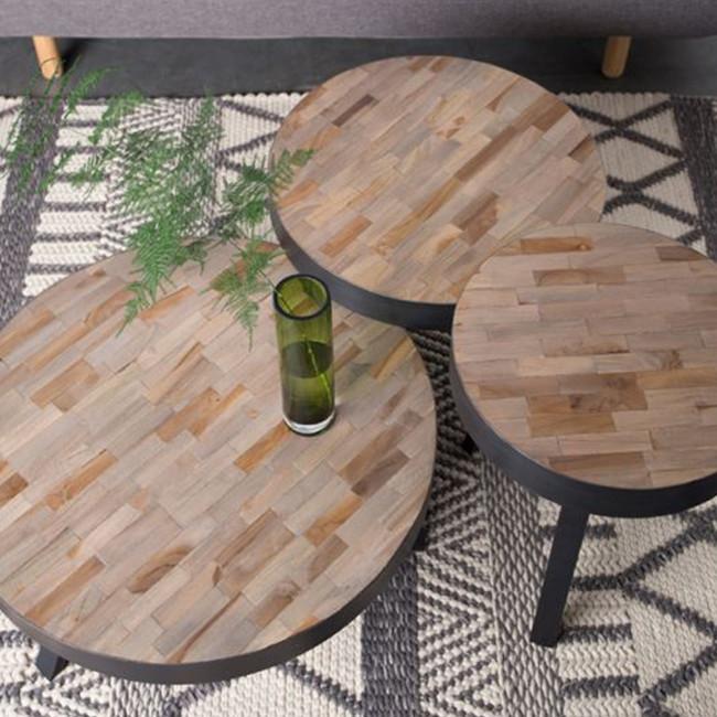 Table basse ronde Ø58 cm en teck recyclé Suri Medium