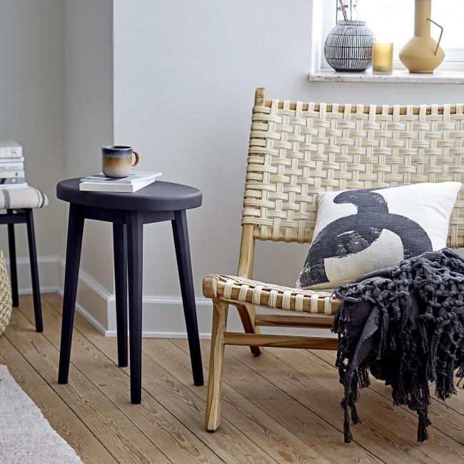 Keila - Fauteuil lounge en bois et cannage