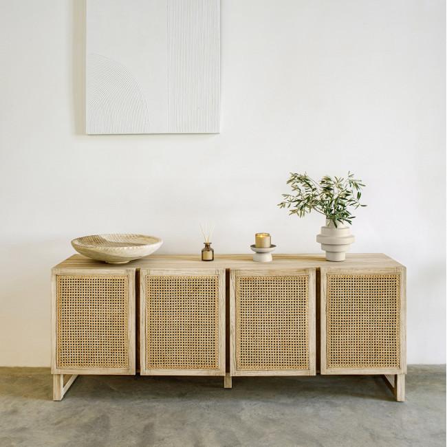 Rexit - Buffet 4 portes en bois et rotin