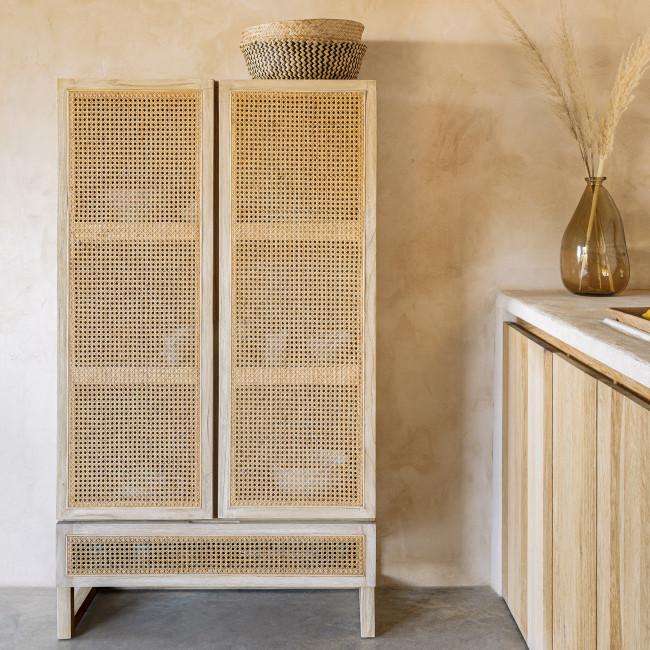 Rexit - Armoire 2 portes 1 tiroir en bois et rotin
