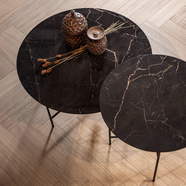 Vida - Table basse en porcelaine effet marbre 40xØ80