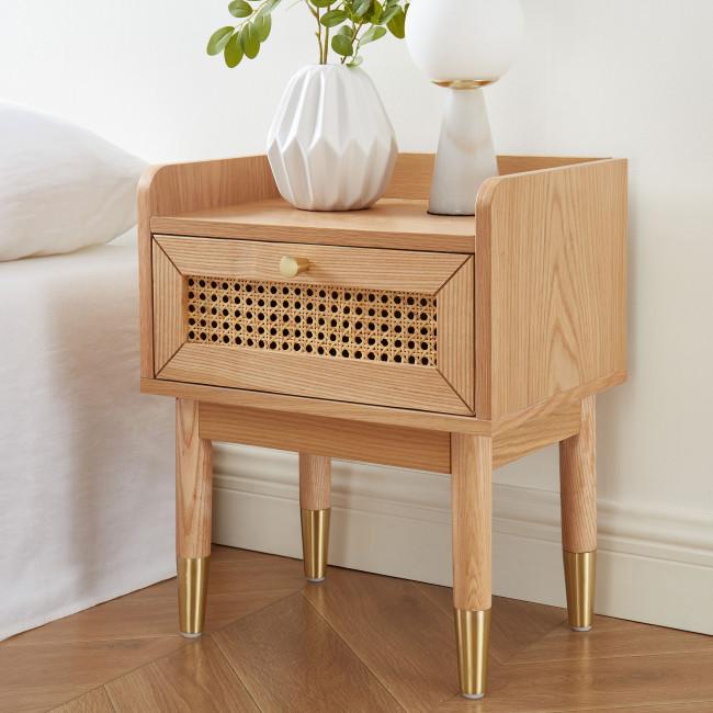 Bombong - Table de chevet 1 tiroir en bois et cannage