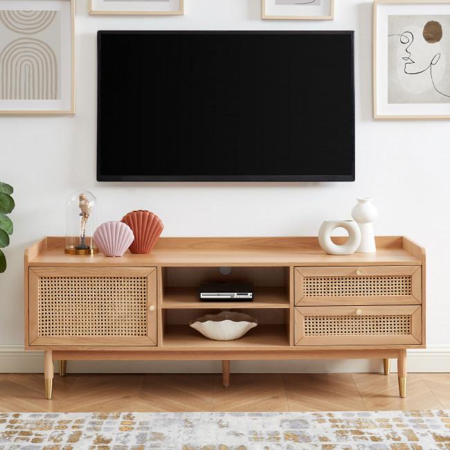 Bombong - Meuble TV 1 porte 2 tiroirs en bois et cannage L160cm