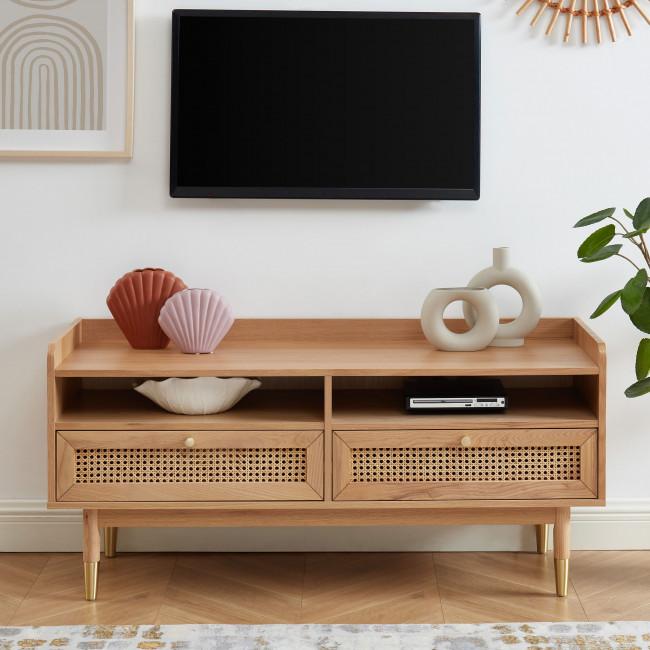 Bombong - Meuble TV 2 tiroirs en bois et cannage L120cm