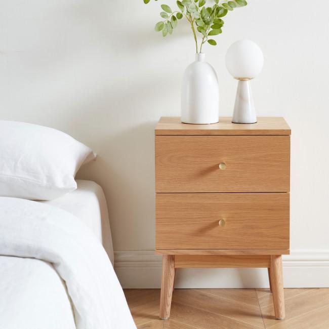 Grude - Table de chevet 2 tiroirs en bois