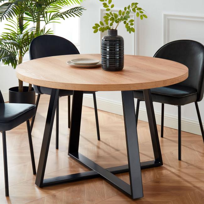 Longwick - Table à manger en bois et métal ø120cm