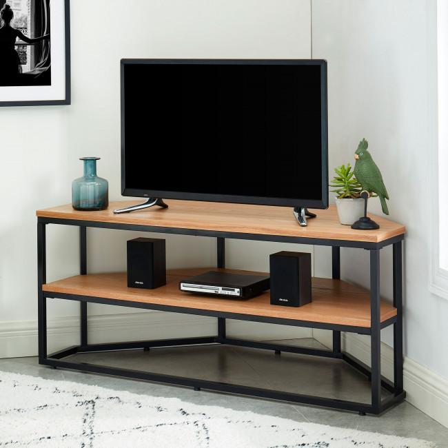 Ivica - Meuble TV d'angle en bois et métal L120cm