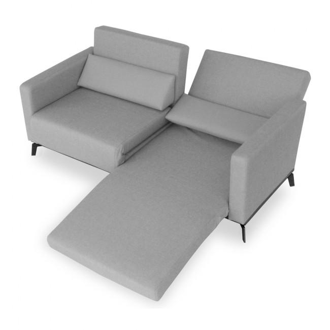 Canapé convertible design Harvey gris déplie