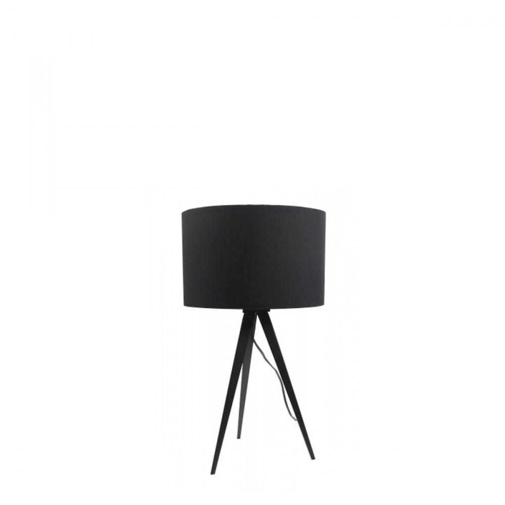 Lampe de table design pied rev tement bois laqu et abat for Miroir tripod