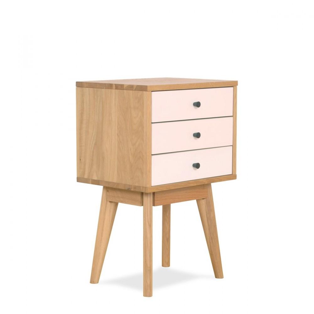 Table de chevet scandinave skoll 3 tiroirs by drawer for Petit meuble rangement avec tiroirs