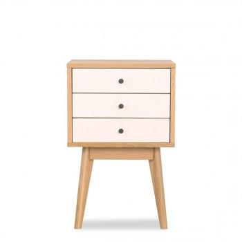 Meuble de rangement design scandinave bois et blanc 3 tiroirs Skoll blanc