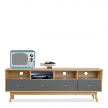 Meuble TV design scandinave 4 tiroirs gris et bois Skoll gris