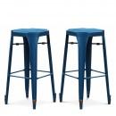 Lot de 2 Tabourets de bar Strong 75cm laqués bleu