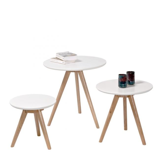 Lot de 3 tables basses scandinaves rondes laque blanche Søren