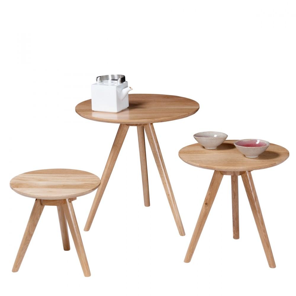 3 tables basses gigognes soren ch ne blanches ou noires for Table basse trois pieds
