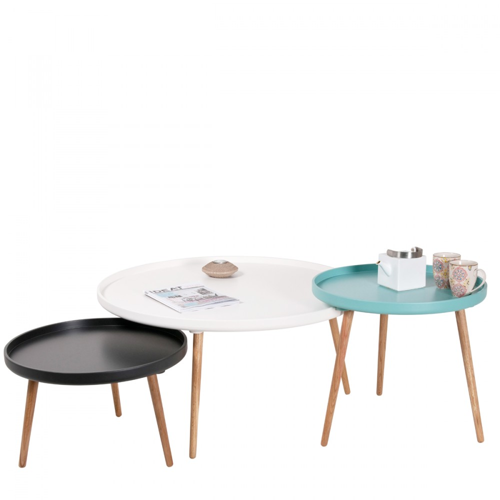 Table basse design kompass 90 by for But table basse ronde