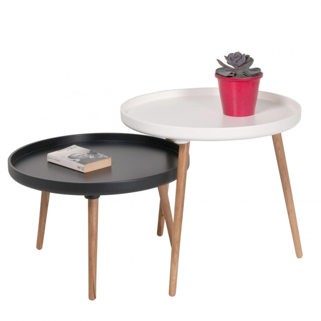 Table basse ronde Kompass Ø90 blanc, noire
