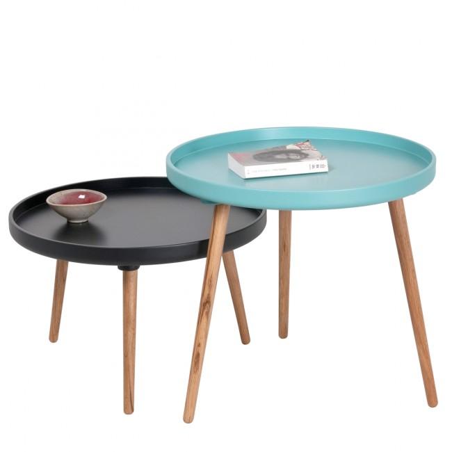 Table basse ronde Kompass Ø90 noire et turquoise