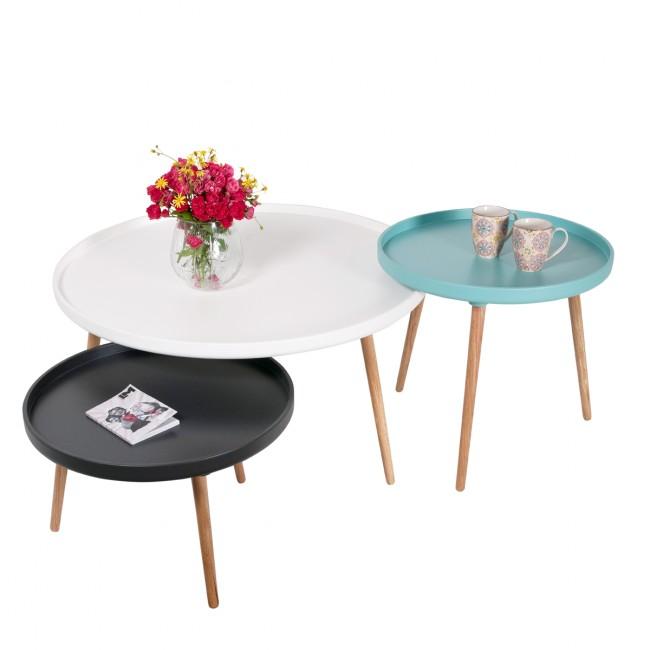 Table basse ronde Kompass Ø90 noire, blanche et turquoise