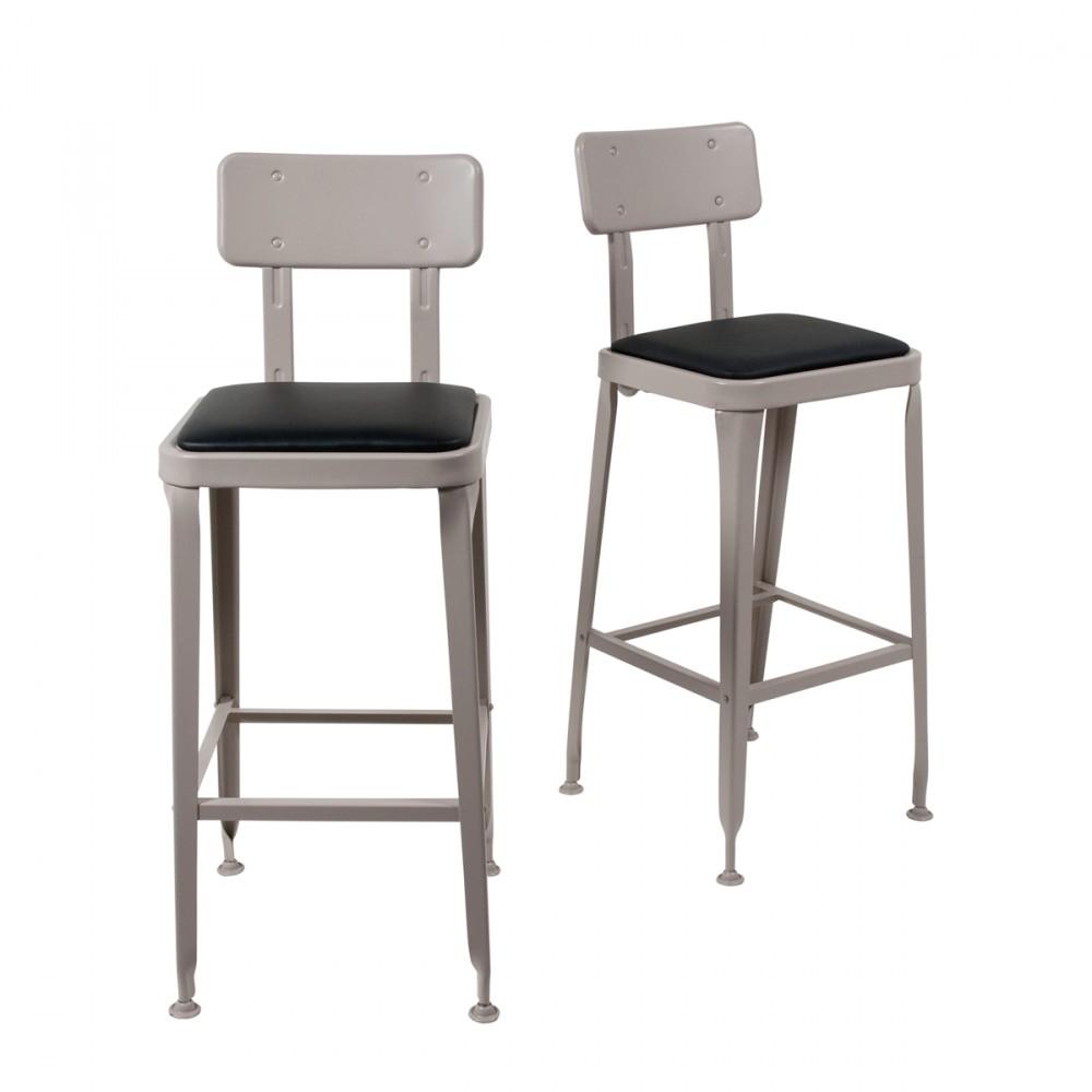100 chaise haute tabouret de bar chaise de bar en rotin et mahogany massif gris e key for Chaise de bar industriel