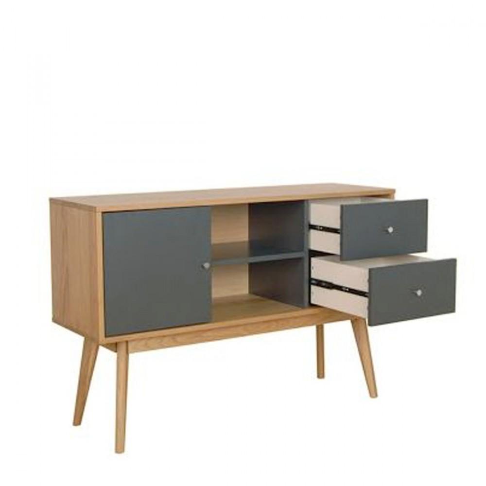 Buffet scandinave design laque mat et bois skoll by drawer - Buffet 2 portes 2 tiroirs ...