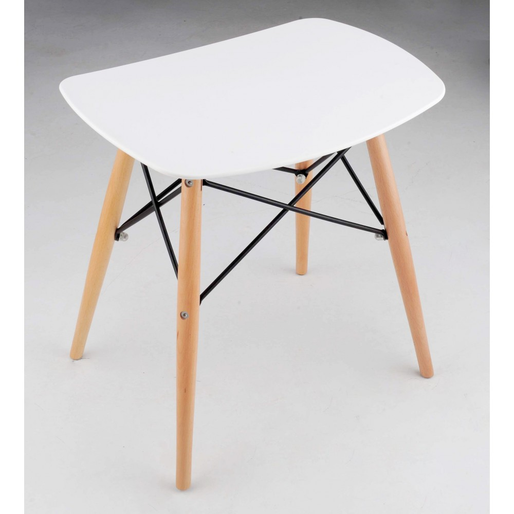 tabouret design skoll blanc et bois esprit eames par. Black Bedroom Furniture Sets. Home Design Ideas