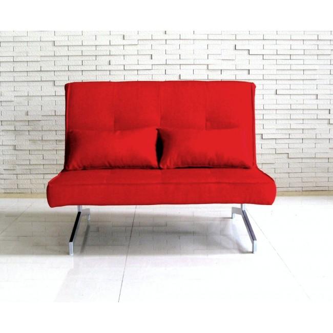 Canapé Convertible BZ Marco 2 places tissu rouge vue de face ambiance